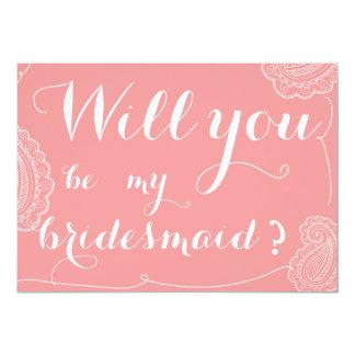 Paisley rosada elegante usted será mi dama de invitación 12,7 x 17,8 cm