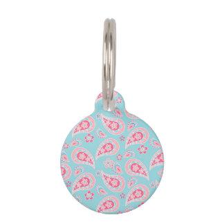 Paisley rosada femenina en azul placa para mascotas