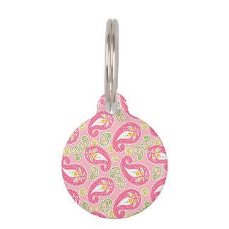 Paisley rosada femenina placas de mascota