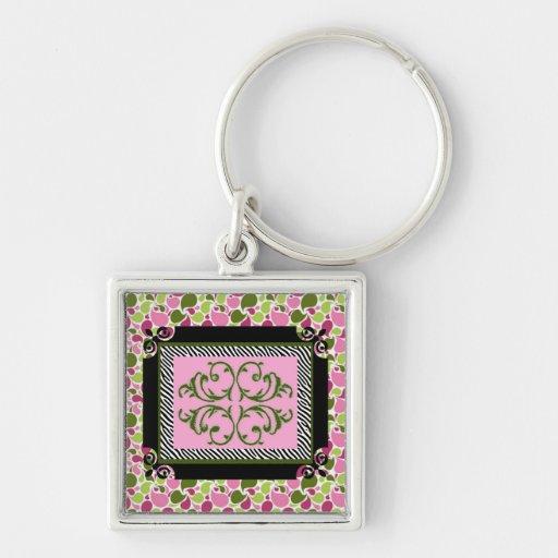 Paisley rosada llavero personalizado