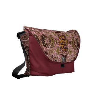 Paisley rosada real bolsas de mensajeria