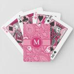 Paisley rosada y blanca baraja cartas de poker