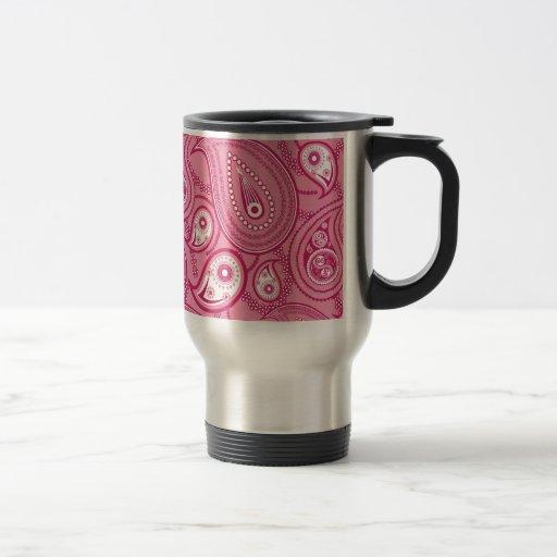 Paisley rosada y blanca tazas