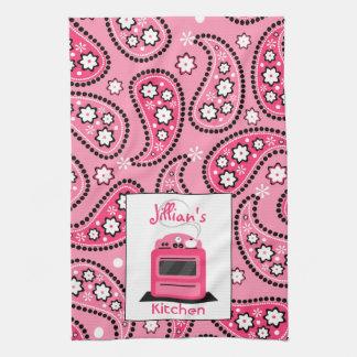 Paisley rosada y toalla de cocina personalizada es