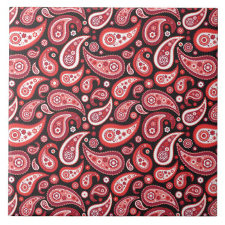 Paisley Ruby Red and Black Pattern Ceramic Tile