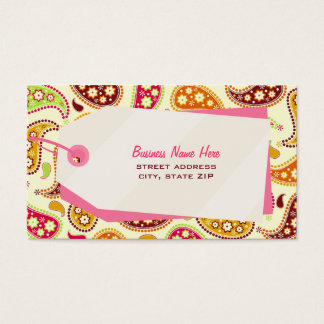 Paisley & Shopping Tag Retail Business Card
