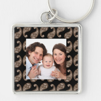 Paisley Silver-Colored Square Keychain