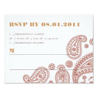 "Paisley Stripes Response Card 4.25"" X 5.5"" Invitation Card"