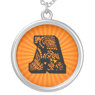 Paisley Sunburst Monogram - A Round Pendant Necklace