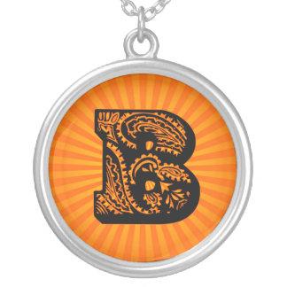 Paisley Sunburst Monogram - B Round Pendant Necklace