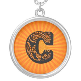 Paisley Sunburst Monogram - C Round Pendant Necklace