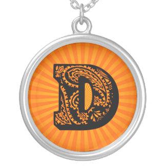 Paisley Sunburst Monogram - D Round Pendant Necklace