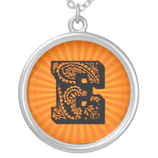 Paisley Sunburst Monogram - E Round Pendant Necklace