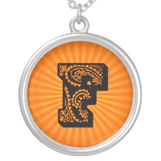 Paisley Sunburst Monogram - F Round Pendant Necklace