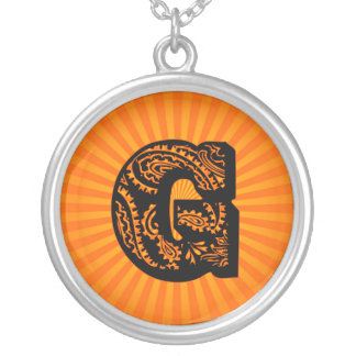 Paisley Sunburst Monogram - G Round Pendant Necklace