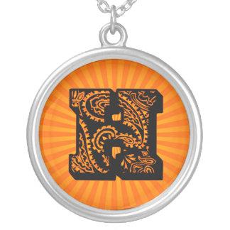 Paisley Sunburst Monogram - H Round Pendant Necklace
