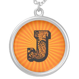 Paisley Sunburst Monogram - J Round Pendant Necklace