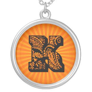 Paisley Sunburst Monogram - K Round Pendant Necklace