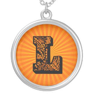 Paisley Sunburst Monogram - L Round Pendant Necklace