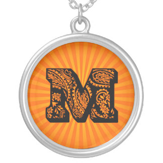 Paisley Sunburst Monogram - M Round Pendant Necklace
