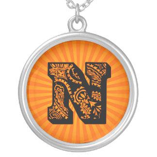 Paisley Sunburst Monogram - N Round Pendant Necklace