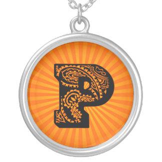 Paisley Sunburst Monogram - P Round Pendant Necklace