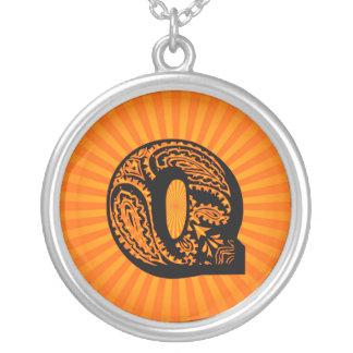 Paisley Sunburst Monogram - Q Round Pendant Necklace