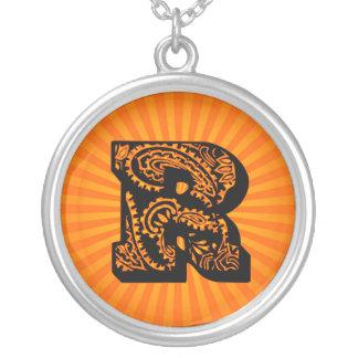 Paisley Sunburst Monogram - R Round Pendant Necklace