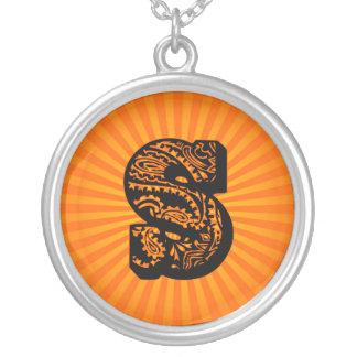 Paisley Sunburst Monogram - S Round Pendant Necklace