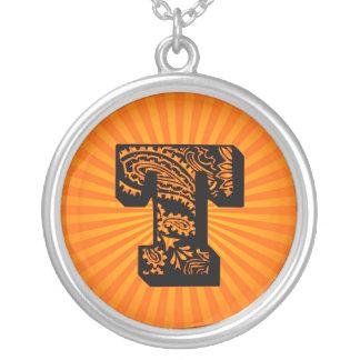 Paisley Sunburst Monogram - T Round Pendant Necklace