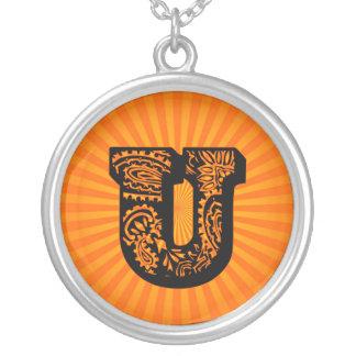 Paisley Sunburst Monogram - U Round Pendant Necklace