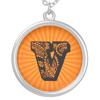 Paisley Sunburst Monogram - V Round Pendant Necklace
