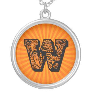 Paisley Sunburst Monogram - W Round Pendant Necklace