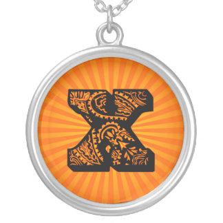 Paisley Sunburst Monogram - X Round Pendant Necklace