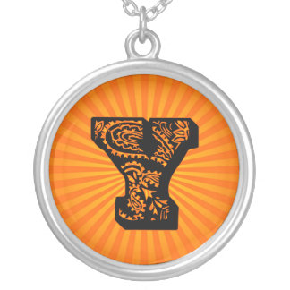 Paisley Sunburst Monogram - Y Round Pendant Necklace