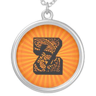 Paisley Sunburst Monogram - Z Round Pendant Necklace