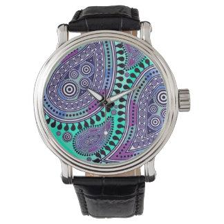 Paisley suprema (aguamarina púrpura) relojes