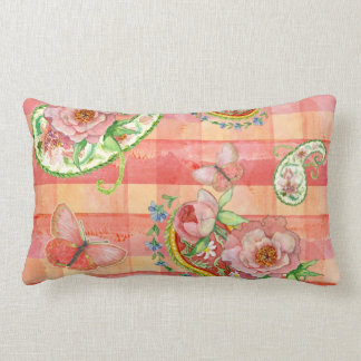 Paisley Swirl Butterfly Daisy Hand Painted Floral Lumbar Pillow