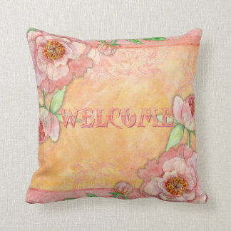 Paisley Swirl Butterfly Daisy Hand Painted Floral Throw Pillow