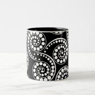 Paisley swirl pattern modern Two-Tone coffee mug