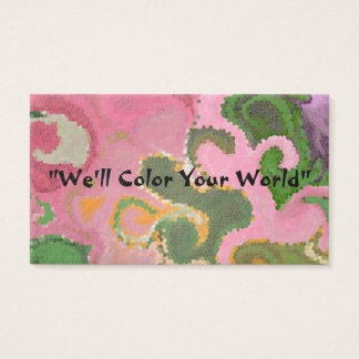 """PAISLEY/TIE-DYE DESIGN"" (PINKS, GREENS AND GOLDS) BUSINESS CARD"