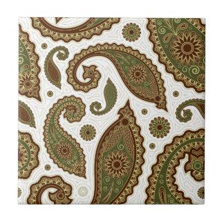 Paisley Tile/Trivet - Green/Brown - 1 Tile