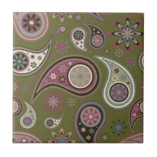 Paisley Tile/Trivet - Mauve - 4 Ceramic Tile