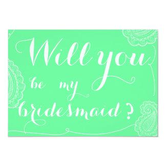 Paisley verde elegante usted será mi dama de honor invitación 12,7 x 17,8 cm