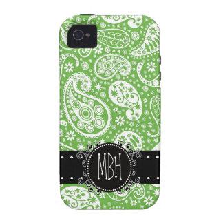 Paisley verde linda con la personalización iPhone 4 carcasa