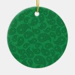 Paisley verde oscuro ornamento para arbol de navidad