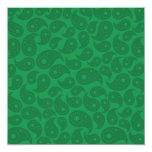 Paisley verde oscuro invitaciones personalizada