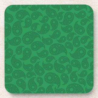 Paisley verde oscuro posavasos