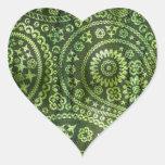 Paisley verde pegatina corazón