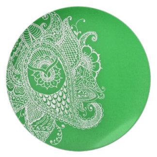 Paisley verde platos de comidas